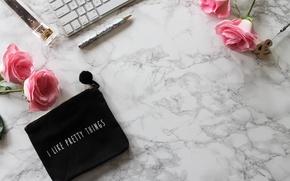 Обои розы, marble, roses, keyboard, ручка, flowers, pink