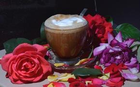 Картинка цветы, кофе, розы, напиток, пенка
