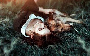 Обои собака, настроение1, Antonia Clio, девушка, дружба, друзья