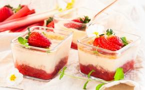Картинка сливки, клубника, десерт, strawberry, cream, dessert, cream cake