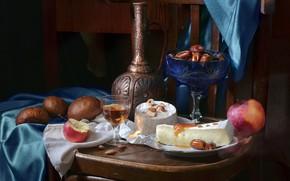Картинка вино, яблоко, сыр, хлеб, кувшин, орехи, натюрморт, финики