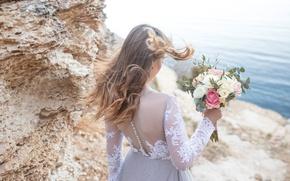 Картинка ветер, букет, невеста