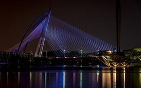 Картинка city, light, bridge, night, malaysia, wawasan, seri, putrajaya, seri wawasan bridge
