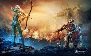 Картинка game, warhammer, armor, weapon, castle, elf, bow, shield, warrior, helmet, arrow, dwarf, Stormfall, Stormfall: Age …