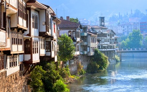 Картинка мост, река, дома, солнечно, Турция, Amasya