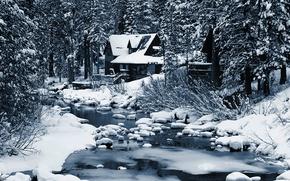 Картинка зима, лес, дом, речка