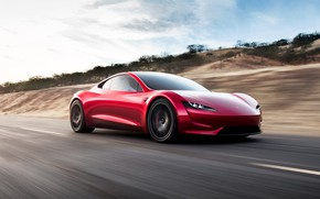 Обои car, Roadster, future, red, Tesla, 2020, Tesla Roadst
