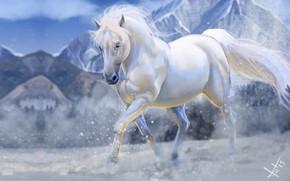 Картинка зима, снег, горы, конь, арт, Victor Lozada, Shadowfax
