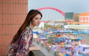 Картинка лицо, фон, модель, волосы, азиатка