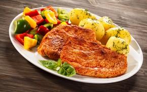 Картинка мясо, перец, овощи, картофель