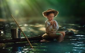 Картинка рыбалка, ведро, ребёнок, водоём, Morning