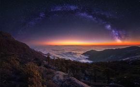 Обои небо, звезды, свет, горы, ночь, туман, путь, вечер, утро, млечный