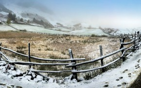 Обои дорога, забор, снег, поле