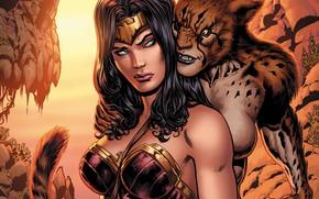 Картинка Волосы, Герой, Комикс, Брюнетка, Wonder Woman, Супергерой, Hero, Brunette, Злодей, Cheetah, DC Comics, Диана, Diana, …