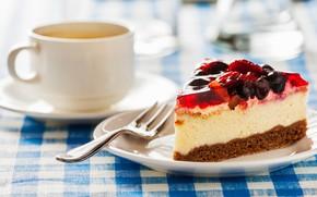 Картинка ягоды, чашка, пирожное, вилка, десерт, желе, бисквит