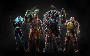 Картинка girl, gun, logo, game, armor, weapon, woman, man, shotgun, pose, rifle, strong, Quake Champions, Quake