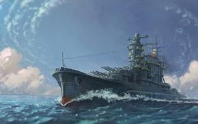Картинка масло, арт, картина painting, гуашь, волны, океан, battleship, флот, полный ход, карандаш, живопись, wallpaper., акварель, ...