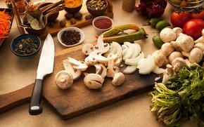 Картинка грибы, нож, помидоры, специи