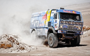 Обои Камаз, Dakar, Спорт, Kamaz, 502, Master, Redbull, Пыль, Авто, Rally, Мастер, Машина