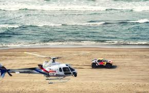 Картинка Песок, Океан, Море, Пляж, Авто, Волны, Спорт, Машина, Скорость, Вертолет, Гонка, Peugeot, Red Bull, 300, …