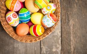 Картинка корзина, colorful, Пасха, happy, wood, spring, Easter, eggs, holiday, basket, яйца крашеные