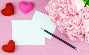 Картинка цветы, розы, букет, листы, сердечки, Праздник, день святого Валентина, Карандаш