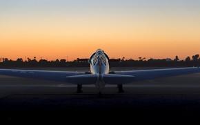 Картинка небо, закат, самолёт