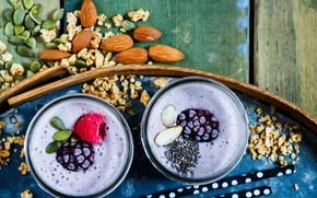 Обои ягоды, малина, орехи, завтрак, напиток, смузи