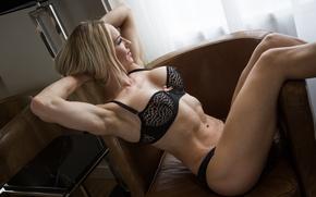 Обои sexy, lingerie, model, blonde, pose, fitness body