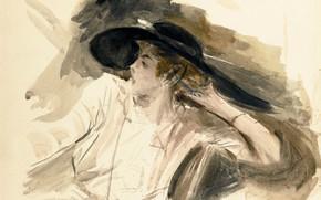 Картинка рисунок, портрет, акварель, Giovanni Boldini, Джованни Больдини, Молодая Женщина в Большой Шляпе