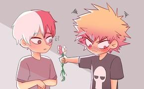 Обои Моя геройская акадеимя, мальчики, цветочки, арт, Бакуго, Boku no Hero Academia, Шото
