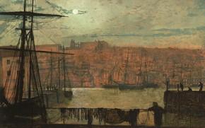 Картинка облака, корабль, картина, Луна, мачта, городской пейзаж, Джон Эткинсон Гримшоу, рея, John Atkinson Grimshaw, Whitby …