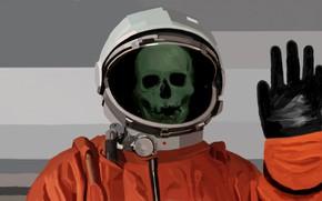 Картинка череп, космонавт, скафандр, костюм