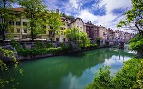 Картинка зелень, небо, облака, деревья, ветки, мост, река, дома, канал, кусты, Словения, Ljubljana