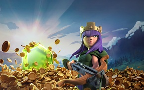 Картинка montain, gold, arrow, bow, Archer, crown, Clash Of Clans, Queen, game