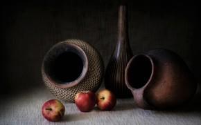 Обои кувшин, яблоки, натюрморт