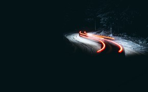 Обои зима, ночь, дорога, огни