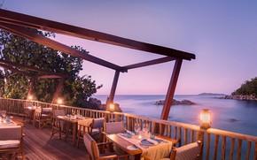 Обои вечер, побережье, ресторан, океан