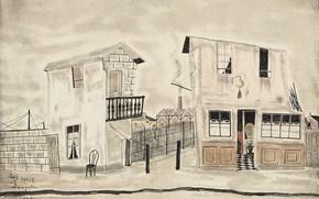 Обои 1931, дома, дорога, стена, Уличная сцена в париже, Tsuguharu Foujita, стул