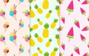Картинка вектор, текстура, фрукты, fruit, ice cream, Patterns