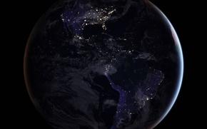 Обои планета, Северная Америка, Южная Америка, материк, Земля, огни
