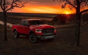 Картинка закат, Dodge, пикап, 1500, Ram, 2019, Rebel Quad Cab