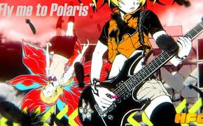 Картинка музыка, гитара, Vocaloid, Вокалоид, персонаж