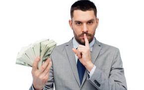 Картинка деньги, палец, костюм, белый фон, доллары, борода, парень, пиджак, жест, баксы, купюры, тихо