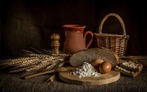 Картинка корзина, яйца, хлеб, колосья, выпечка, мука