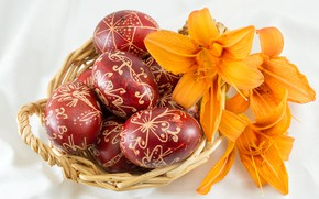 Картинка лилии, яйца, Пасха, корзинка
