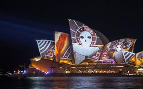 Картинка ночь, Австралия, Сидней, световое шоу, оперный театр, Vivid festival
