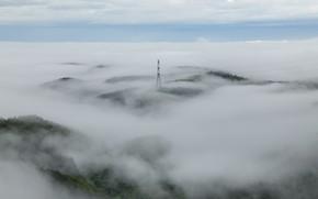 Обои лэп, плоская земля, горизонт, туман