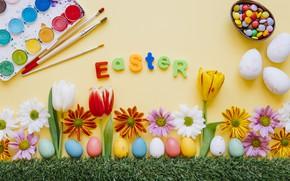 Картинка Цветы, Пасха, Яйца, Кисти, Праздник, Краски