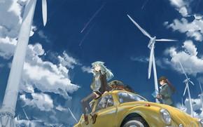 Обои аниме, небо, tommy830219, арт, девочки